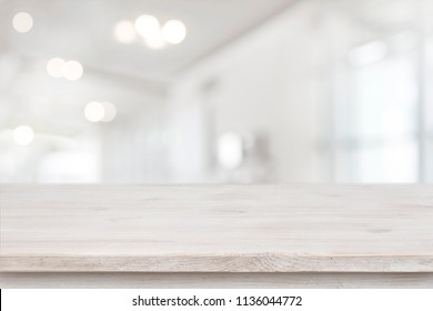 Product display template, empty table and blurred abstract room background