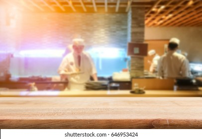 Product display template, table top with sushi bar blur restaurant background, good for japanese food display
