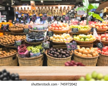 Product display template, table top with fruits blur background in supermarket