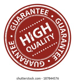 Product Information Material, Circle Red High Quality Guarantee Sticker, Rubber Stamp, Icon, Tag or Label Isolated on White Background