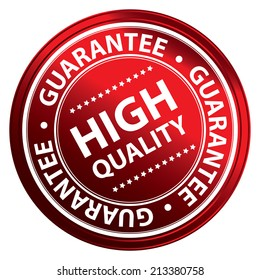Product Information Material, Circle Red Metallic Style High Quality Guarantee Sticker, Stamp, Icon, Tag or Label Isolated on White Background