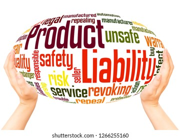 Product Liability word cloud hand sphere concept on white background.