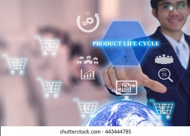 PRODUCT LIFE CYCLE concept  presented by  businessman touching on  virtual  screen- IMAGE ELEMENT FURNISHED BY NASA - SOFT SILER TONE