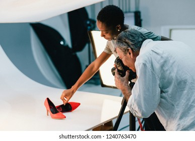 Product photography shoot of shoes