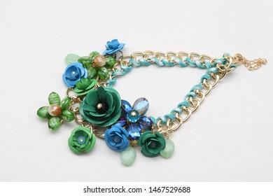 product photography of skyblue neckpiece