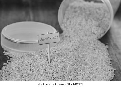 Product shots (black and white): Brown rice, natural, organic and natural food images with signs.
