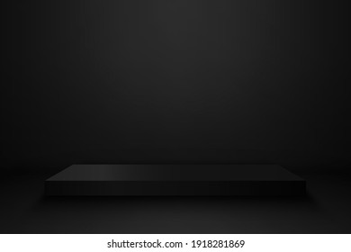 Product showcase with black stand podium on dark room background. Use as montage for product display