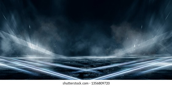 Product showcase spotlight background. Clean photography studio. Abstract blue background with rays of neon light, spotlight, reflection on the asphalt.