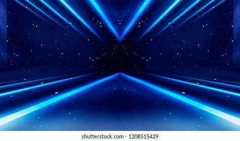 Product showcase spotlight background. Background wall with neon lines and rays.