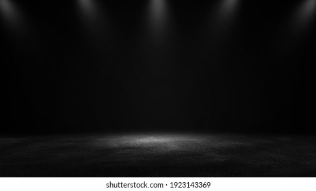Product showcase with spotlight. Black studio room background. Use as montage for product display