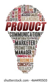 PRODUCT word on word cloud concept with bulb shape