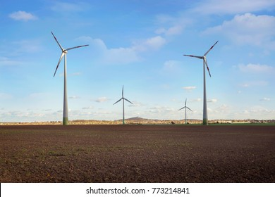 Production of alternative energy, solar panels and wind generators in autumn