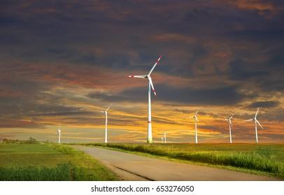 Production of alternative energy wind turbine on the Sunset