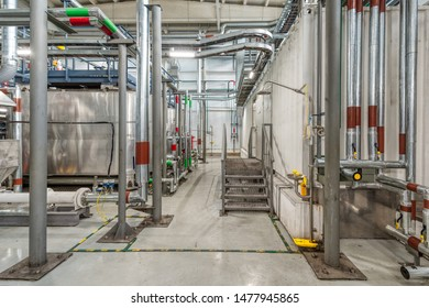 Production of chemical emulsions for mining. Clean chemical workshop. Many different pipelines and tanks. Production of chemical emulsions for mining.