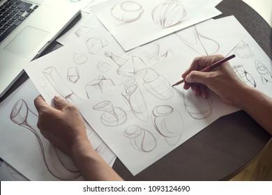 Production designer sketching Drawing Development Design idea Creative Concept