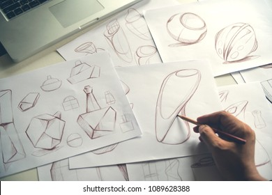 Production designer sketching Drawing product Development process prototypes Design idea Creative Concept