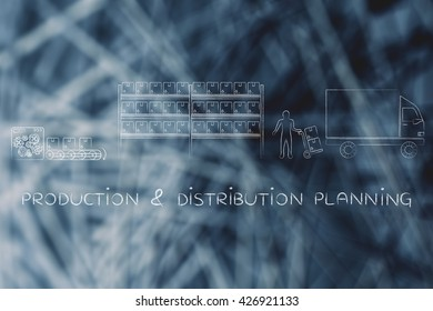 production & distribution planning: product passing from factory production line to company's warehouse to shipping truck