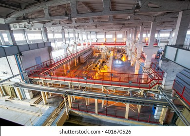 production facilities at factory producing blocks view from above