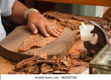 Production of handmade cigars.