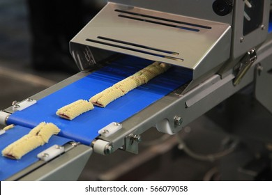 Production line of baking bars cookies, close up