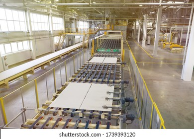 Production line of gypsum board for construction. Plant for the production of construction materials