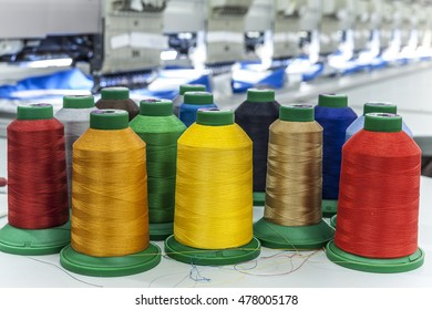 The production line in industrial size textile factory.