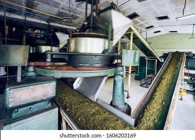 Production line inside tea factory, Sri Lanka.