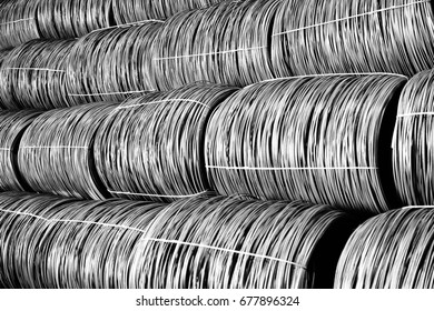 Production of metal wire rod at the metallurgical plant. Heavy industry