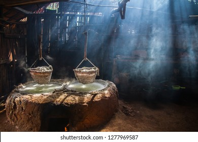 Production of mountainous ,Salt (Sin-tao salt) Ancient salt making from underground water at Bo Kluea district, Nan Province, Thailand.
