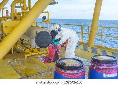 production operator operate mercury hazard waste disposal at oil and gas process, oil and rig plant, offshore oil and gas industry, offshore oil and rig in the sea, production process