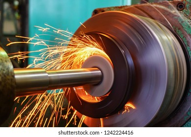 Production of parts in the metalworking industry, finishing on an internal steel surface grinding machine with flying sparks