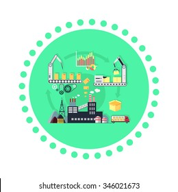 Production of product icon flat design. Business process management, project create, development technology, service industry creation, marketing factory work illustration. Raster version