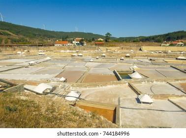 Production of Salt by Evaporation Saline, Salinas de Rio Maior Portugal