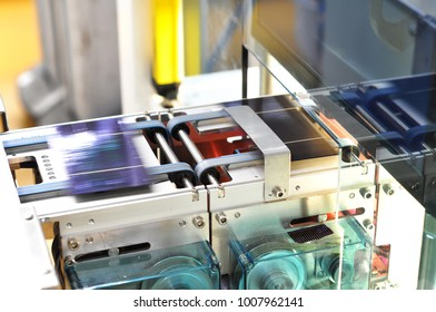 production of solar cells - conveyor belt in production with wafer modules for assembly