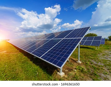 Production of solar panels. Green energy concept. Modern production factory or plant. Special equipment.