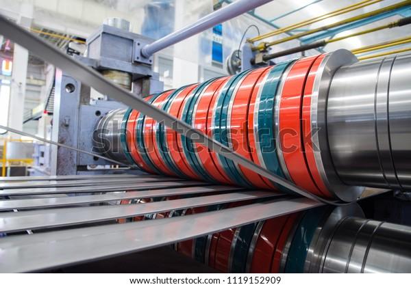 Die Herstellung von Stahlspule auf Slitter-Linie.
