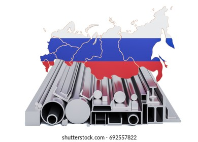 Production and trade of metal products in Russia, concept. 3D rendering isolated on white background
