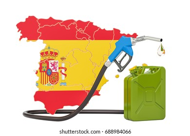 Production and trade of petrol in Spain, concept. 3D rendering isolated on white background