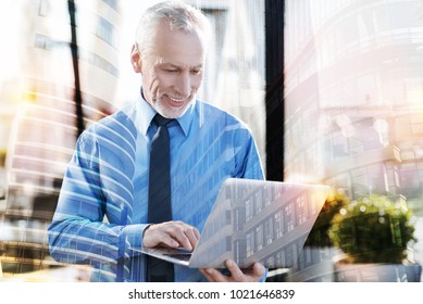 Productive work. Experienced smart mature businessman feeling happy while having a productive working day and smiling when looking at the screen of his modern laptop