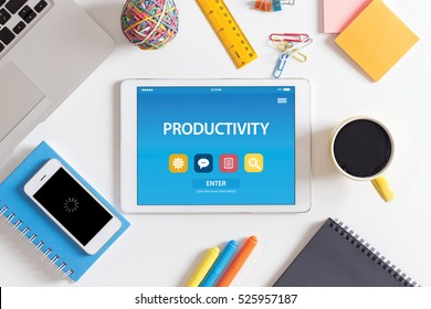 PRODUCTIVITY CONCEPT ON TABLET PC SCREEN