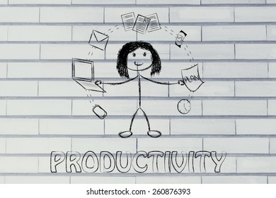 productivity and multitasking: business woman juggling with office objects