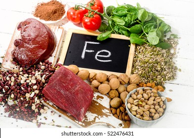 Products containing iron. Healthy eating concept.