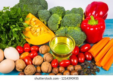 Products containing a large amount of vitamin E. Conception of a healthy diet.