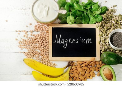 Products containing magnesium. Healthy food concept. Flat lay