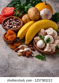 Products containing potassium. Healthy food concept in light background