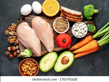 Products containing vitamin B3 (PP, niacin), healthy eating concept on stone background