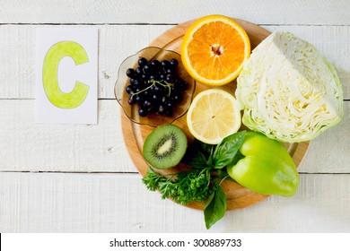 Products containing Vitamin C: orange, kiwi, lemon, black currant, sweet peppers, cabbage, parsley, basil