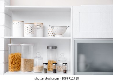 Products and houseware on shelves in kitchen
