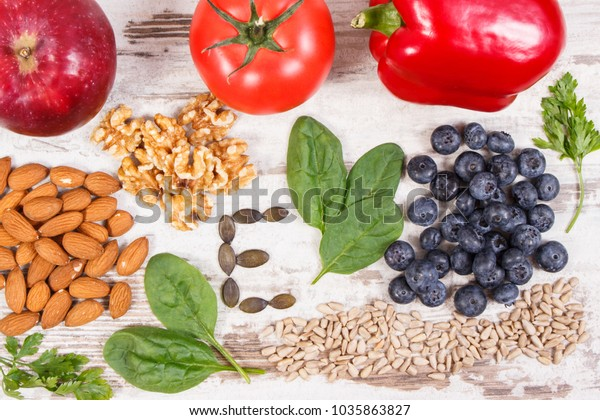Products or ingredients containing vitamin E and dietary fiber, natural sources of minerals, healthy nutrition concept