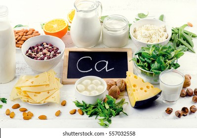 Products rich in calcium. Healthy diet eating.